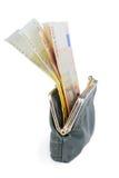 Pełny portfel na białym tle Zdjęcia Stock