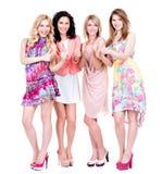 Pełny portret grupowe młode szczęśliwe kobiety Obrazy Stock