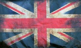 Pełny ramowy wizerunek stara pobrudzona brudna zrzeszeniowej dźwigarki brytyjska flaga z zmrokiem miącym ostrzy ilustracji