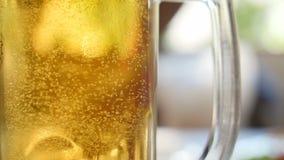Pełny szkło piwo gulgocze zakończenie zbiory wideo