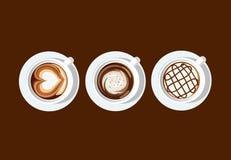 PE blanc d'illustrateur de vecteur de tasse d'art de café de latte 2 Photographie stock libre de droits