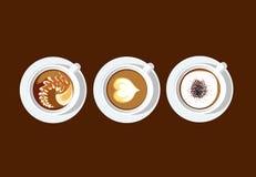 PE blanc d'illustrateur de vecteur de tasse d'art de café de latte 3 Photo stock