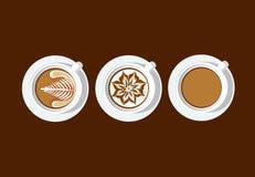 PE blanc d'illustrateur de vecteur de tasse d'art de café de latte de gare Photo libre de droits