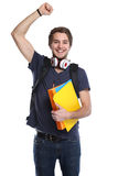 Pe feliz do retrato do homem novo da felicidade do sucesso bem sucedido do estudante fotos de stock