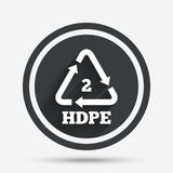 Pe-hd 2 sign icon. Polyethylene high-density. Pe-hd 2 icon. Polyethylene high-density sign. Recycling symbol. Circle flat button with shadow and border. Vector Royalty Free Stock Photos