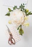 A peônia branca floresce no close up do fundo da tabela de trabalho, bloggers w Imagem de Stock Royalty Free