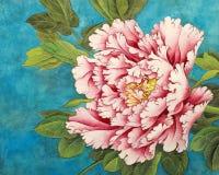 Peônia cor-de-rosa em um fundo azul ilustração do vetor