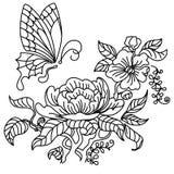 Peônia e borboleta BW Imagens de Stock Royalty Free