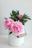 Peônias cor-de-rosa em uma lona Foto de Stock