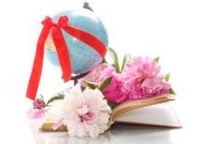 Peônias cor-de-rosa no livro e no globo abertos Fotografia de Stock