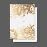 Peônias do ouro Coleção decorativa do vetor do quadro floral ilustração do vetor