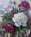 Peônias, pintura a óleo na lona Imagens de Stock Royalty Free
