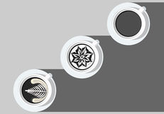 PE noir et blanc d'illustrateur de vecteur de tasse blanche d'art de café de Latte de gare Photo stock