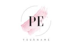 PE P E Watercolor Letter Logo Design with Circular Brush Pattern. PE P E Watercolor Letter Logo Design with Circular Shape and Pastel Pink Brush stock illustration