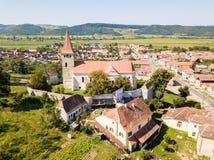 Pe Tarnave de Saros, igreja fortificada, a Transilvânia, Romênia medie foto de stock royalty free