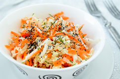 Pe-tsai cabbage salad with carrot, dill and poppy seed Stock Photos