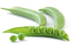Pea. Very close image of fresh pea in pod on white Stock Photography