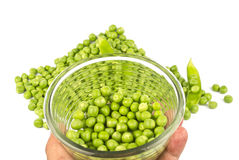 Pea Balls. In glass bowl and their heap on white background Royalty Free Stock Photography