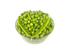 Pea Balls in Glass Bowl. On white background Stock Images