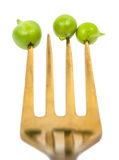 Pea beans on a fork royalty free stock photo