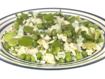 Pea Broad Bean and Asparagus Risotto Stock Photo