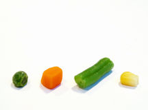 Pea, carrot, bean and corn Stock Photos