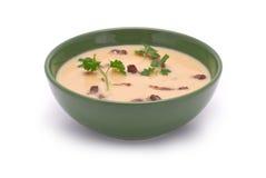 Pea Cream Soup com bacon grelhado Fotografia de Stock Royalty Free
