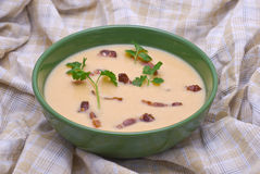 Pea Cream Soup with Grilled Bacon. On Brown Tartan Cloth Royalty Free Stock Images
