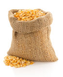 Pea grain in sack bag on white. Background Stock Photos