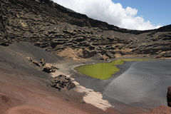 Pea Green Lake, El Largo Verde. Pea Green Lake on Lanzarote Stock Image