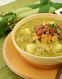 Pea And Ham Soup With Croutons Stock Photography