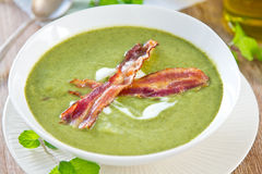 Pea,Mint and Celery soup Stock Photography