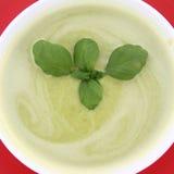 Pea and mozzarella soup Royalty Free Stock Photos