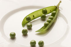 Pea pod. On the white plate stock photos