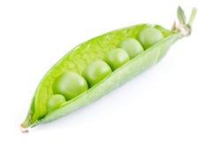 Pea pod. Vivid green half open pea pod on white background Stock Photo