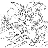Pea pod detective. Black-and-white illustration (coloring page): pea detective and his dog Royalty Free Stock Photo