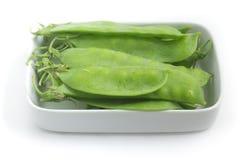 Pea Pod Torta verde em uma bacia imagens de stock