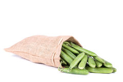 Pea pods in a bag Royalty Free Stock Photos