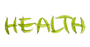 Pea Pods spelling Health. Healthy vegetable concept using pea pods to spell out word Royalty Free Stock Photos