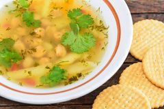 Pea and potato soup Royalty Free Stock Photos