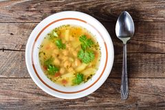 Pea and potato soup Royalty Free Stock Image