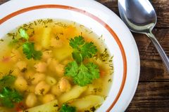 Pea and potato soup Stock Images