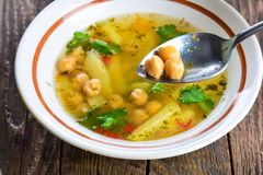 Pea and potato soup Royalty Free Stock Image