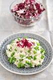 Pea Risotto. Italian Pea Risotto with Radicchio Salad Stock Image