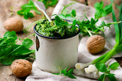 Pea shoot and mint pesto .style rustic. Selective focus stock image