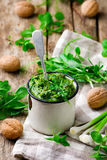 Pea shoot and mint pesto .style rustic. Royalty Free Stock Photography
