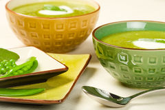 Pea Soup. Accompanied by pea pods and sage Royalty Free Stock Photo