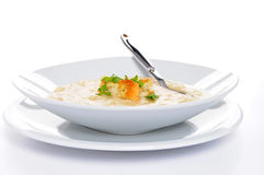 Pea Soup. Bowl of delicious homemade pea soup with croutons Stock Images
