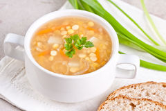 Pea soup. With bread food Stock Photo