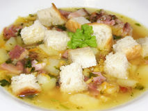 Pea soup. With croutons and smoked meat Stock Photography